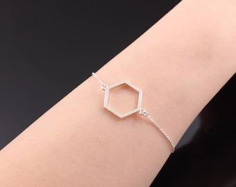 Hexagon silver bracelet, Sterling silver bracelet, Sterling Silver Bracelet Women, Silver hexagon bracelet, Minimalist hexagon bracelet,gift