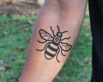 Machester Bee Temporary Tattoo