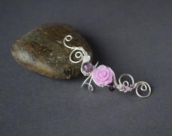 Purple earrings no piercing Cartilage ear cuff February birthstone Flower earrings Fake piercing Ear wrap piercing Silver ear cuff earrings