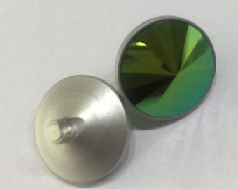 Swarovski Metal Shank Button-1810/140-Crystal Scarabaeus Green F (001 SCGR)-approx. 14mm
