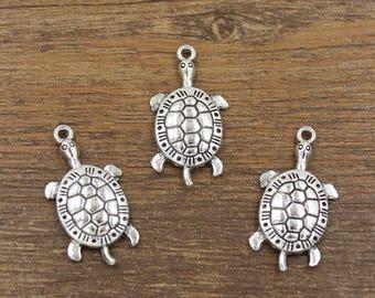 20pcs Turtle Charms Antique Silver Tone 16x30mm - SH681