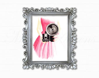 Vintage Camera Print, Watercolor Print, Fashion Illustration, Art Print, Home Decor, Office Decor, Gifts for Her, Photographer Gift