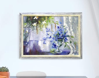 Flowers Oil painting original oil painting framed art blue painting still life flowers big oil painting sale grey violet flowers frame vase