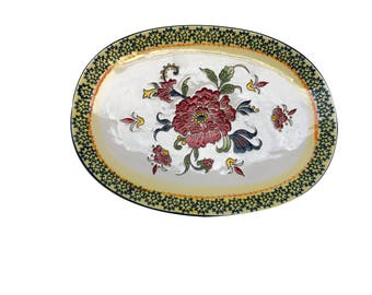Beyond Tableware Tech Ceramic  Glazed Hand Crafted  Embossed Peony Platter