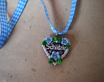 Heart Necklace light-blue, Octoberfest