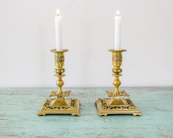 Pair of gilt Bronze candlestick