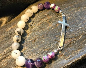 Cross Connector Gemstone  Woman's Stretch Charm Bracelet