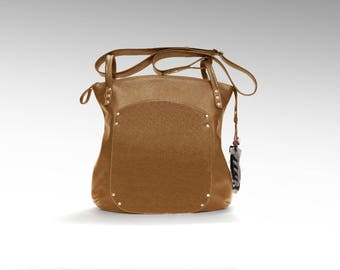 Leather bag cross-over everyday slouchy hobo brown shoulder handbag women oversized minimalist classic cowhide crossbody zippered tote