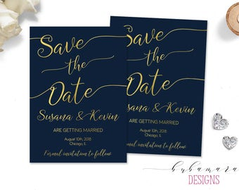 Elegant Save the Date Invitation Bridal Faux Gold Calligraphy Letters Digital Invitation Modern Navy Background Printable Invite - WS019