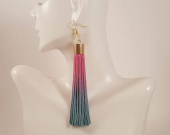 Green tassel earrings, pink tassel earrings, fringe earrings, ombre earrings, colorful earrings, statement earrings, gift for mom