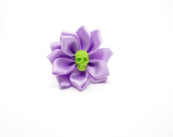 Rock - flower ring with skull