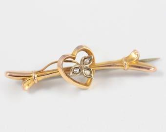 Antique Gold Heart Brooch, 9ct Gold Bar Brooch, Seed Pearl Brooch, Ivy Leaf Brooch, Victorian Brooch, Edwardian Brooch, Sweetheart Brooch