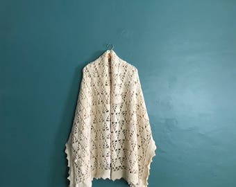 Bohemian Blanket. Boho Throw Blanket. Boho Afghan Blanket. Retro Blanket. Hippie Blanket. Knitted Afghan. Woven Blanket. Beige Blanket