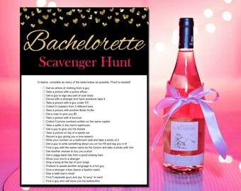 Bachelorette Scavenger Hunt - Bachelorette Party Games - Printable Bachelorette Games - Hens Night Games - Gold and Pink - Instant Download