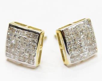 1.75 CT. Flush Set Diamond Earrings in 10K Gold