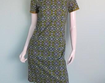 60s Jaeger Retro Shift Dress, Blue and Green Floral Cotton Straight Dress, Groovy Mod Sheath Dress, Scoop Neck Mini Dress, Small