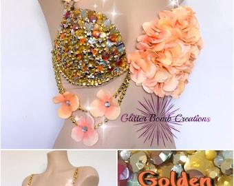 READY TO SHIP* 32DD Gold and Peach Rhinestone Flower Rave Bra/ Jewels Festivals Bra/ Custom Sparkly Edm Top/ Gold Flower Bra/ Gold Bling Bra
