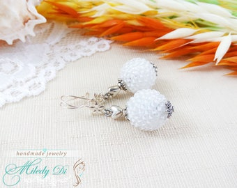 Bridesmaid gift-for-mother White wedding earrings Fairytale gift-for-wife Statement jewelry gift Beadwork mom earrings Seed beaded jewelry