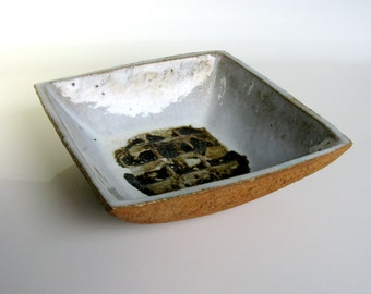 Swedish / Stoneware Bowl / Curt M Addin / Studio / Glumslov / Scandinavian Modern / Square Bowl / Decorative Bowl / Fruit Bowl / Sweden/ 60s