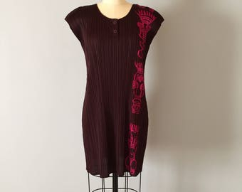 1990s Pleats Please Issay Miyake dress | Tiki Island pink ornament dress | aubergine purple micro pleated mini dress