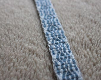 Grey & blue card woven trim, tablet weaving viking belt, medieval woven trim, ethnic strap, ancient textile band, card weaving ribbon, belt