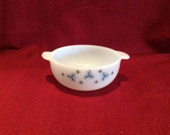 Phoenix Opalware Blue Atomic Snowflake Casserole Dish 8oz circa 1960