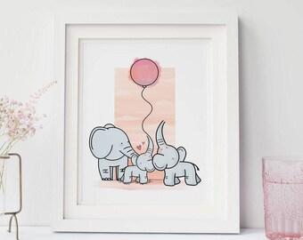 Elephant Family Print, A4, Nursery Art, Nursery Decor