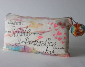 Selfie Preparation Kit |Travel gift, Tie Dye Toiletry Zip Bag, Quote, Inspirational, Hippie Gift, Travel Gift|Birthday Gift, Holiday Selfie