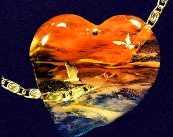 Cherry Quartz Heart Pendant Bead 48x44x5mm
