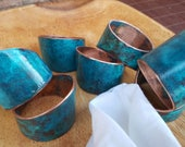 8 patina copper napkin rings, housewarming, turquoise, wedding gift, copper painted napkin rings, tabletop decor, rustic napkin rings