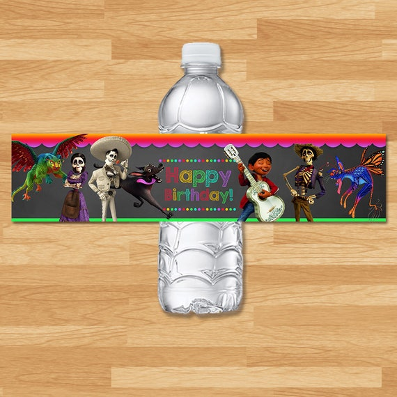 Coco Drink Label - Chalkboard - Coco Water Bottle Wrap - Disney Coco Movie - Coco Drink Labels - Coco Birthday Party Printables