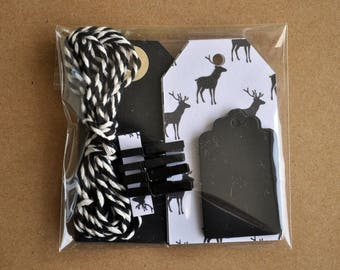 Deer themed gift wrap kit, black and white, red and white, deer gift tag, mini gift wrapping kit, mini clothespins, christmas gift tags deer