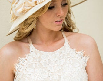 Cream Hat With Silk Flowers & Striped Ribbon