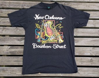 Vintage 80's / 90's / New Orleans, LA Party Time Bourbon Street / Made in USA / XL / t-shirt