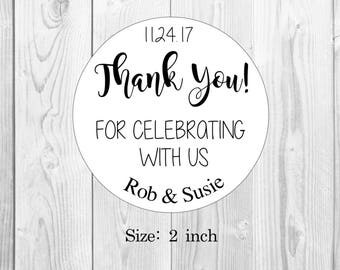 Wedding Stickers Thank You For Celebrating With Us Favor Labels