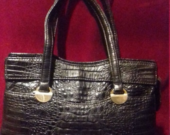 1950s / 60s Black  Ladies Handbag / Black  Moc Croc Ladies  Handbag