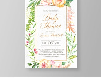 Floral Baby Shower Invitation Template | Faux Gold | Watercolor | Printable Baby Shower Invite | Editable | Instant Download | DIY #036BS