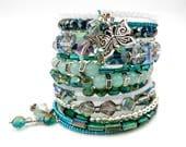 Turquoise beaded bracelet, memory wire wrap bracelet, beaded wrap bracelet, turquoise bracelet, cuff bracelet, butterfly bracelet