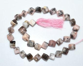 "1 Strand Natural Pink Peruvian Opal 3D Box Smooth Beads-Pink Opal Briolette, Plain 3D Box Briolette, 7.50-8.50 mm, 14.5""-BL3734B"