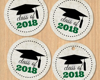 "Printable Class of 2018 Graduation Cap 1.5"" Images - Green, Instant Download JPG for envelope seals, stickers, tags, cupcake toppers"