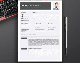 Modern Resume | Professional Resume | CV Template | Word Resume Template | Cover Letter | Creative Resume Design | Instant Download | NANCY