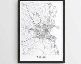 Dublin Map Print - Minimalist Map / Dublin / Ireland / City Print / Europe Maps / Giclee Print / Poster / Framed
