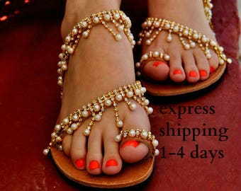 "Luxurious sandals/ Bridal sandals/ Wedding sandals/ Handmade leather sandals/ Chic sandals/ Wedding shoes/ Beach sandals/ ""TAJ MAHAL"""