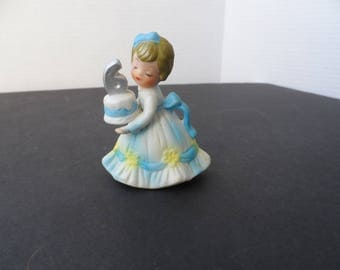 Birthday Gift For Girls Turning 6 Figurine In Blue And White Dress  Holding Birthday Cake With #6   2092