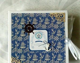 Nautical Scrapbook Album, Travelers Notebook, Sea Travel Book, Adventure Book, Travel Scrapbook Album, Travel Journal, Nautical Photo Album