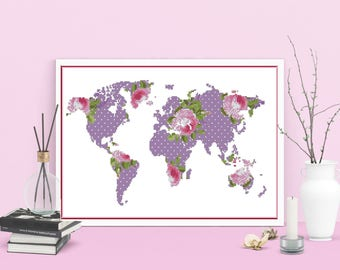 World map cross stitch floral silhouette, Modern flower map cross stitch pattern PDF, Instant download pattern