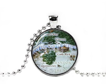 Castle Black Necklace The Wall map Pendant Nights Watch Game Of Thrones Jewelry