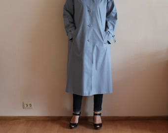 Vintage Trench Coat Women's Trenchcoat Blue Coat Womens Midi Rain Coat Blue Outerwear Retro Coat Oversize Medium Size
