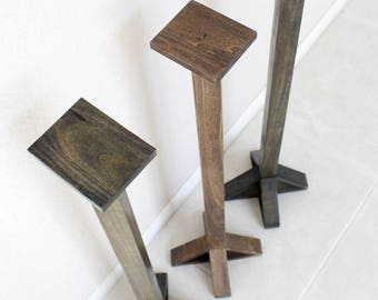 Rustic Speaker Stands, Solid Poplar Wood - Farmhouse furniture / rustic furniture / Made to order. Unique