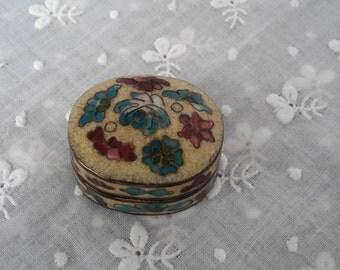 Miniature Pill Box with Cloisonne and Enamel Decoration. Vintage Trinket Box